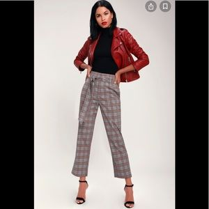 Hot KISS Checkered Print Pants Wide Legs S-L New